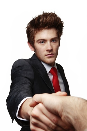 young businessman shaking someones hand after a business deal photo