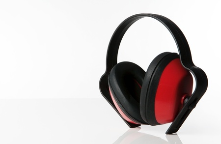 defenders: still life image of ear defenders standing on a white background