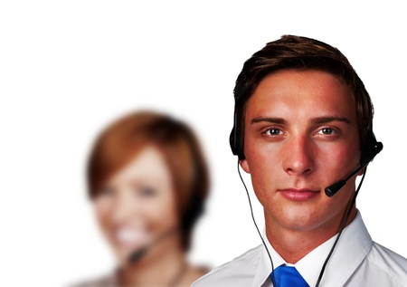 group of people wearing telephone headset ready to take your call Stock Photo - 13405288