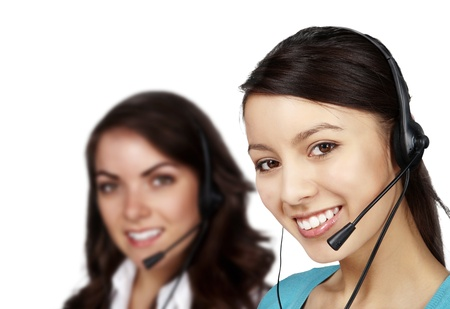 group of people wearing telephone headset ready to take your call Stock Photo - 13405349
