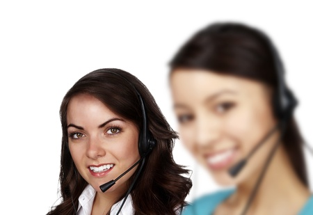 group of people wearing telephone headset ready to take your call Stock Photo - 13405359