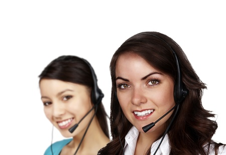 group of people wearing telephone headset ready to take your call Stock Photo - 13405298