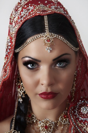 indian bride: indian women dressed in red