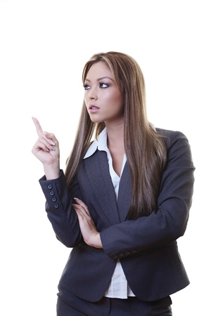 woman pointing with her finger at something in the air Stock Photo - 13956936