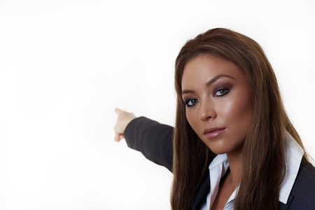 woman pointing her finger at something Stock Photo - 14760111