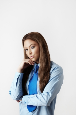 sexy woman wearing a shirt and tie  photo
