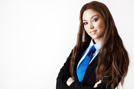 woman wearing a suit with a shirt and tie