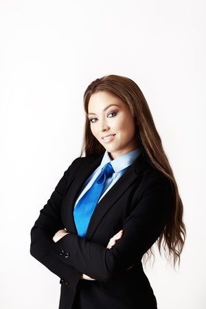 mujer con corbata: mujer sexy vistiendo un traje con una camisa y corbata