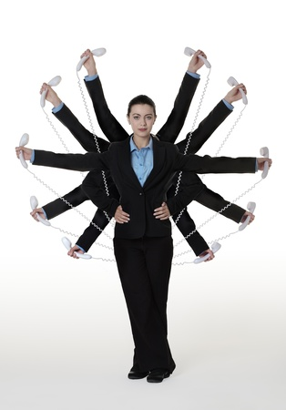 woman with many arms holding telephone