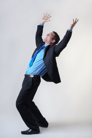overjoyed: overjoyed business man expring his happiness