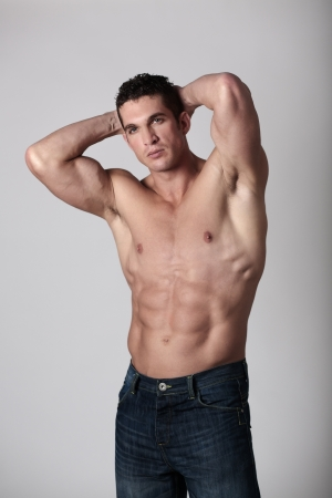 naked male body: good looking man with his top of showing off his great body Stock Photo