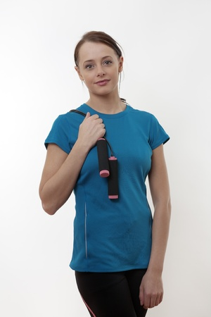 woman with a skipping rope over her shoulder Stock Photo - 17079778