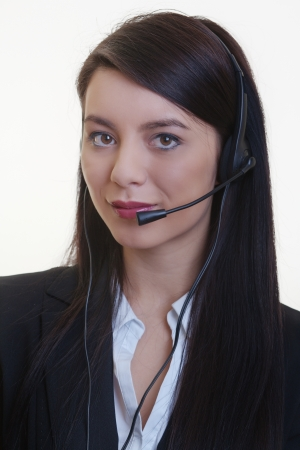 portrait of a young businesswoman wearing a phone headset Stock Photo - 17456514