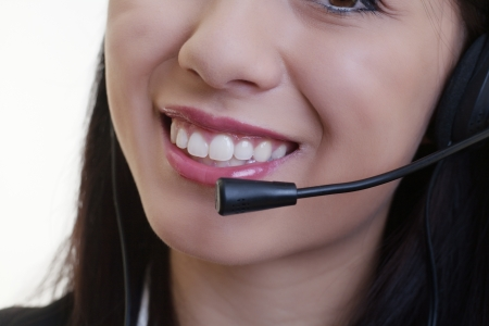close up of a woman mouth using a phone headset to talk Stock Photo - 17456517