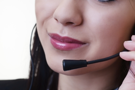 close up of a woman mouth using a phone headset to talk Stock Photo - 17456506