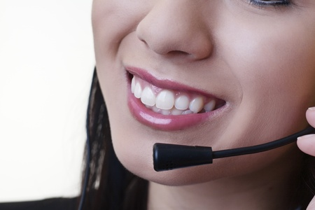 close up of a woman mouth using a phone headset to talk Stock Photo - 17456509