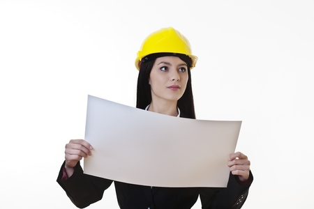 woman holding plans of woman holding plans of some sort wearing a hard hat Stock Photo - 17439638