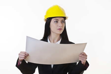 woman holding plans of woman holding plans of some sort wearing a hard hat Stock Photo - 17456452