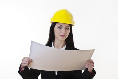 woman holding plans of woman holding plans of some sort wearing a hard hat Stock Photo - 17439653