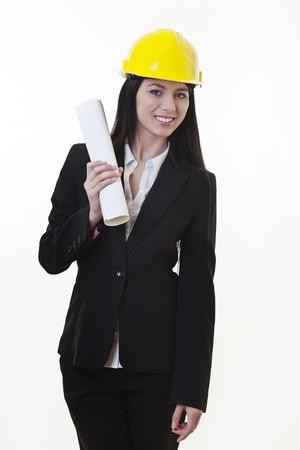 woman holding plans of woman holding plans of some sort wearing a hard hat Stock Photo - 17456471