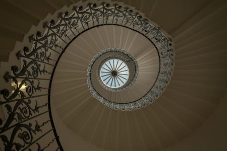 banister: View of spiral staircase from the ground looking up