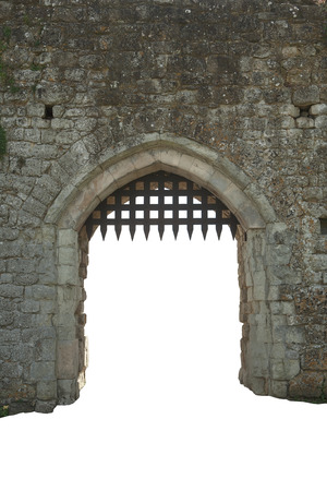 castle wall: Medieval castle gate, white background