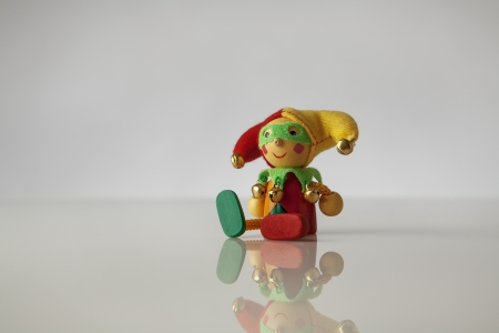 prankster: Small court jester model, still life image on white background
