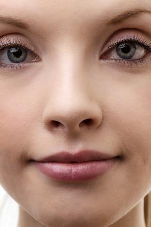 primer plano cara: cara de la mujer de cerca a tiros en el estudio