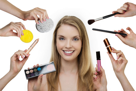 woman doing make up with many hands and arms  photo