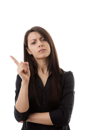 woman wagging her finger at something not looking to happy