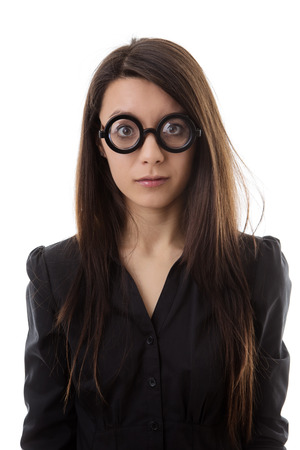 woman wearing funny glasses shot in the studio Stock Photo - 28277465