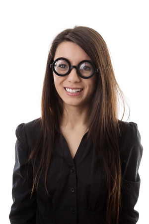 fake smile: woman wearing funny glasses shot in the studio