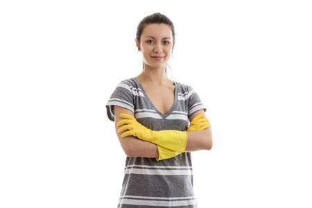 woman wearing rubber washing up gloves