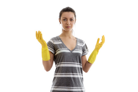 rubber: woman wearing rubber washing up gloves