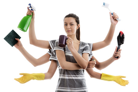multitask: woman with many arms getting ready to do a spring clean