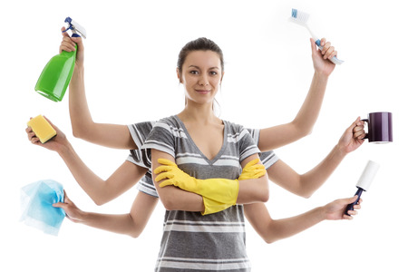 woman with many arms getting ready to do a spring clean