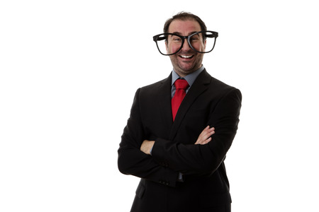 funny glasses: Business man wear funny large glasses