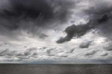 mersea: shot taken on east mersea island looking out across the sea with a moody sky Stock Photo