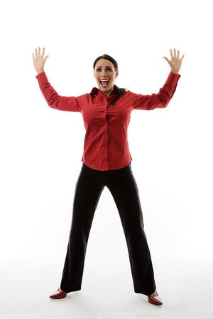 jambes �cart�es: femme avec son bras et jambes �cart�es comme si elle est la cible de quelque chose Banque d'images