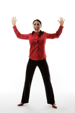 legs apart: woman with her arm and legs apart as if she is the target of something