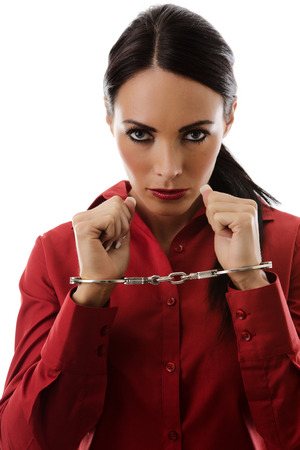 woman chained up in  handcuffs