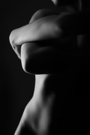 naked black woman: nude black and white abstract form and shape of a young women