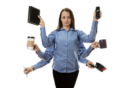 multitask: busy woman with many arms multitasking concept