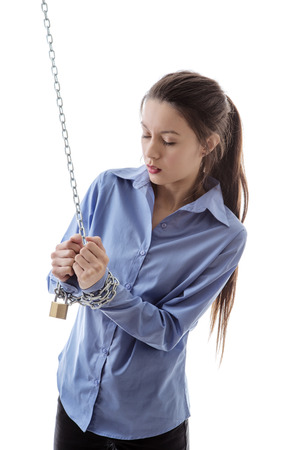 get away: business woman chained up unable to get away