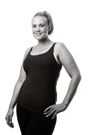plus size model doing a fitness shoot photo