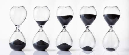 hour glass sand timer running out