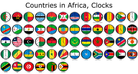 adjusted: List of countries in Africa, national flags set on a clock face with time zone set (Adjusted with Daylight Saving Time on corresponding countries)