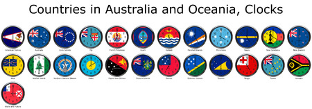 adjusted: List of countries in Australia and Oceania, national flags set on a clock face with time zone set (Adjusted with Daylight Saving Time on corresponding countries)