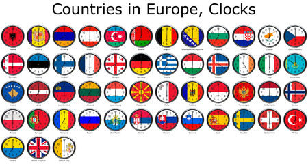 adjusted: List of countries in Europe, national flags set on a clock face with time zone set (Adjusted with Daylight Saving Time on corresponding countries)