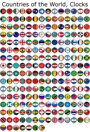 adjusted: List of countries in the world, national flags set on a clock face with time zone set (Adjusted with Daylight Saving Time on corresponding countries)